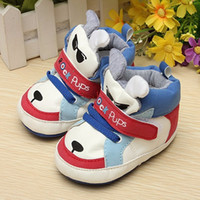 Wholesale Canvas Shoes Pattern - Fashion Baby First Walkers Dog Pattern Baby Shoes For 0~6 M Baby Newborn Toddler Blue color