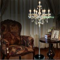 Wholesale Mediterranean Floor Lamps - American crystal floor lamp idyllic Mediterranean bookroom K9 crystal floor lamp model room restaurant decorative lighting