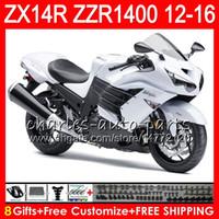 Wholesale White Zx14r - Bodywork For KAWASAKI NINJA ZZR1400 ZX-14R 2012 2013 2014 2015 2016 64NO40 white black ZZR 1400 14 R ZX 14R ZX14R 12 13 14 15 16 Fairing kit