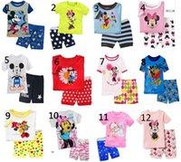 Wholesale Wholesale Red Green Pajamas - Summer Kids Pajamas Boy girl kids short pajama set baby sleepwear kids short clothes set children sleepwear
