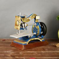 Wholesale Photography Ornament - Antique Sewing Machine Ornaments Desktop Metal Decor Vintage Crafts Handmade Model Wrought European Home Decor Decorative Photography Props