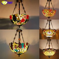 "Wholesale Stained Glass Pendant Lamps - Tiffany Pendant Lamp Antique Country Style 16"" Suspension Lights Stained Glass Dragonfly Flower Baroque Restaurant Kitchen Lamp Hotel Projec"