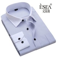 Wholesale Collar Shirts Cheap - Wholesale- Hot sales High quality shirt male long-sleeve mens shirt commercial male male hot sales Blue black stripes s~6xl shirt cheap