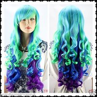 Wholesale Multi Color Cosplay Wigs - Cosplay wig Long Curly Multi-Color Hair Wigs New Fashion Women Full Wigs