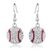 Wholesale Baseball Party Plates - Silver Earrings Earring Hot Sale CZ Crystal Baseball Dangle Earrings for Women Girl Party Fashion Jewelry Wholesale Free Shipping - 0635WH