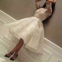 Wholesale Homecoming Dress Organza Ruched - Lovely Knee Length Prom DressES Jewel Neck Lace-Applique Half Sleeves Short Homecoming Dress New Arrival Enchantment Celebrity Party Gowns