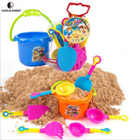 Wholesale Toy Sand Bucket Wholesale - Wholesale- 9pcs Sand Water Beach Play Toys Set Kids Seaside Bucket Shovel Rake Kit Building Molds Funny Tools HT3930