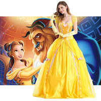 Wholesale New Fantasia Women Halloween Cosplay Southern Beauty And The Beast Adult Princess Belle Costume Yellow Long Dress