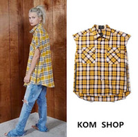 Wholesale Import Clothes China - Wholesale- KOM mens brand china imported tartan clothing men clothes plaid designer shirts short sleeve fear of god flannel shirt dress