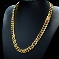 Wholesale Real Hip Hop Gold Chains - 18K Real Gold Plated Men Large Cuban Chain Hip Hop Full Bling Cubic Zirconia Necklace Top Quality Triple Lock Necklaces Copper Jewelry