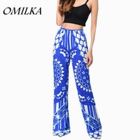 Wholesale Leg Loose Pants Long Trousers - OMILKA 2017 Hot Summer Women Elastic Waist Wide Leg Boho Pants Casual Loose Flroal Printed Bohemian Beach Long Pants Trousers