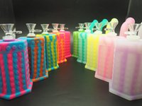 Wholesale Glass Hexagon - 11 cm high, the new Lego hexagon design, silicone, hookah, glass fittings, bottom LED lights