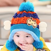 Wholesale Cheap Baby Beanies - Cheap Baby Kid's Knit Hats Ear Cap Baby Knitted Hats Baby Beanies Hats Winter 1-3 Years Old Children Girls Boy Wool Warm