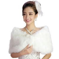 Wholesale White Pashmina Faux Fur - Wholesale- Best Deal New Fashion Women Soft White Colour Elegant Faux Fur Cape Wedding Bridal Wrap Jacket Shawls Scarves1PC