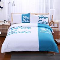 ingrosso trapunta copre gli oceani-Blu oceano HerHis fresca sensazione 4pcs set biancheria da letto, lenzuola, federa trapunta set di copertura