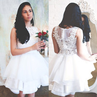 Wholesale Dresses Civil Wedding - Elegant White Lace Wedding Dresses Jewel Neck Lace Appliques Summer Civil Hippie Bridal Dresses Knee Length Organza Ruffles Wedding Gowns