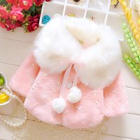 Wholesale Kids Fur Coats For Wholesale - Trendy Girls Winter Fur Coat with Fleece 2017 Pom Decorated Winter Outwear for Children Boutique Kids Clothes