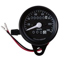 Wholesale Motorcycle Speed Meter - Motorcycle Universal Dual Odometer Speedometer Gauge Speed Meter Night Light LED Backlight Modification Part 12V 0-140km h