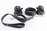 Wholesale Neck Wrist Restraint Male - New Bondage Gear Set Neck Collar with Chained Wrist Cuffs Ankle Cuff Black PU Leather BDSM Fetish Sex Play Toys Body Restraint Harness