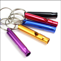 Wholesale Products For Promotion - big promotion!!2017 Mini Aluminum Whistle Dogs For Training With Keychain Key Ring Outdoor Survival Emergency Exploring