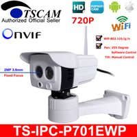 Wholesale Onvif Ip Camera Software - TSCAM new SP-P701EWP HD 720P 1.0MP Wireless Wifi Outdoor IP Camera Pan Rotation by Software ONVIF with Micro SD Card Slot P2P
