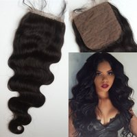 Wholesale Silk Base Closure Body Wave - Silk Base Top Closure with Baby Hair Mongolian Virgin Hair Body Wave Natural Color Cheap Silk Closure FDSHINE HAIR