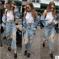 Wholesale Loose Pants For Women Wholesale - Ripped Jeans for Women fashion Loose Jeans Pants Women Hole Vintage High Waist Ripped Jeans Fake Two Pieces Vaqueros Mujer Female Denims