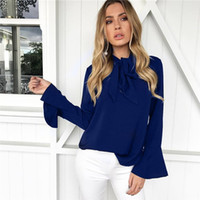 Wholesale Ladies Navy Blouses - Autumn Winter Bow Ties Women Tops Black Yellow Pink Navy Blue Long Sleeve Women Blouse Shirt Fashion Ladies Office Formal Tops DHL DY171010