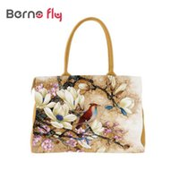 Wholesale Digital Print Handbags - Wholesale- 2017 National Flower print women bags fashion brands Digital Printing beautiful floral canvas shoulder handbags bolsa feminina