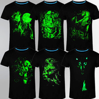 Wholesale Luminous Mens Shirts - Summer Brand Clothing Novelty Mens Tshirt Homme 3D Glow In The Dark Luminous T Shirt Men Wolf Printed Short Sleeve Tee