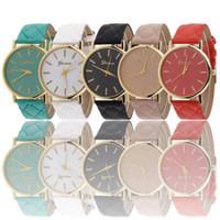 ginebra reloj mujer rojo al por mayor-Las mujeres de moda se visten de Ginebra reloj de mujer de color rojo casual reloj de mujer vestido de relojes Lleather correa relojes envío gratis