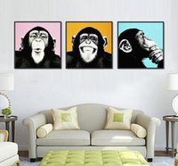 Wholesale Monkey Oil Painting Canvas - 3pcs Melamine Sponge Board Canvas Oil Painting Picture Funny Monkey Frame Living Room Wall Art Paint Animal Prints On Canvas Art