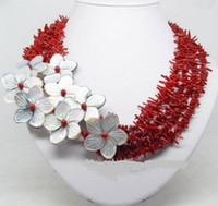 Wholesale Coral Chips - Natural red coral chip shape mutil strands with shell flowers necklace 18''