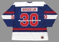 brodeur hokeyi mayo toptan satış-özel Erkek RICHARD BRODEUR Quebec Nordiques 1974 WHA Retro Hokey Forması
