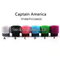 ingrosso suggerimenti america-2017 Colorful Newest Capitan America 810 tfv8 TFV12 drip tips Bore largo bocchino per sigaretta elettronica Boccaglio serbatoio