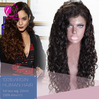 Wholesale Long Curly Heavy Wig - 8A Virgin Brazilian Human Hair Full Lace Wigs With Baby Hair Top Quality Long Curly Glueless hair Wig With Bleached Knots Heavy Density