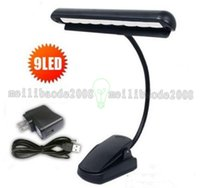 Lámpara de tabla recargable de la alta calidad 9 LED Clip Luz Orquesta Brazo Flexible Music Stand Adaptador Libro Lectura Lámpara Book Lights lámpara de piano MY
