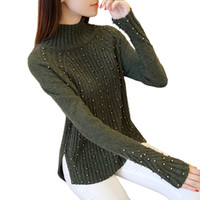 Wholesale Turtleneck Sweater Coat - Wholesale- Christmas Sweater women Fashion Beading Turtleneck long sleeve sweaters and pullovers female pull femme knitted coat