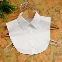 Wholesale wholesale fake collar - New Arrival Women Decorative Collars Solid Cotton White Shirt Fake Collar black white