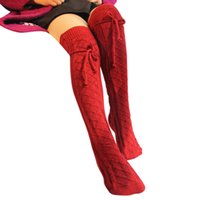 Wholesale Wholesale Cable Knit Boot Socks - Wholesale- Wonter Warm Knitted Stockings Women Cable Long Boot Thigh-High Leggings Over Knee Socks Sexy Thick High Long Knitting Stockings