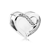 Wholesale Diy Charms Ribbon - Authentic 925 Sterling Silver Bead Charm Silk Ribbon Love Heart With Crystal Beads Fit Women Pandora Bracelet Bangle DIY Jewelry HK3575