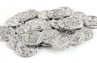 8-11 Years spanish movies - Ccool fancy1000pc plastic Spanish pirate treasure silver coins props toy for Halloween birthday party cosplay kids favors prizes