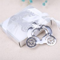 Wholesale Silver Boxes For Wedding Favors - Pumpkin Carriage Bookmark Metal Bookmark Gift Box Packing Wedding Favors Party Decoration Supplies Wedding Gifts For Guests