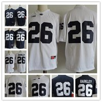football ncaa college achat en gros de-Hommes Penn State Nittany Lions # 26 Saquon Barkley No Name Navy Blue White College Football Stitched NCAA à bas prix Taille des adultes S, 3XL