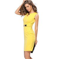 robes sexy achat en gros de-2017 Summer Women 's Dress Casual Solide Sexcy Party Pencile Coton Prom Jaune Rouge Bleu Club Dress Sashes Plus Party Robes De Travail