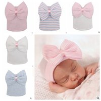 Wholesale Cute Knitted Hats - Knitted Hats Baby Big Hair Bow Stripe Crochet Cute Hat Newborn Soft Cotton Unisex Toddler Hat Warm Tire Babies Stripe Infants Caps J379