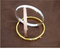 Wholesale Crystal Fashion Bangles - New Arrival High Quality Scrub fashion Love Forever Bangle platinum 18K Rose gold Plated Bracelet for couple Freeshipping