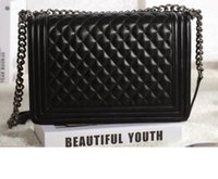 Wholesale Vintage Embroidery Thread - Large 67087 30CM Lambskin Large Classic Style LeBoy Black Genuine Lambskin Leather Plaid Flaps Shoulder Chain Bags Vintage Go