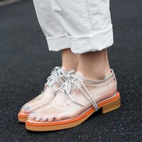 British Retro Stylish PVC Transparente Casual Flat Shoes Lace Up Oco Carved Flower Preppy Style Brogue Women Shoes