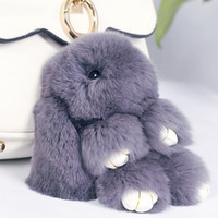 Wholesale Rabbit Pendant Alloy - 19 Colors Rabbit Furs Key Chain Pompom Fur Keychain Bag Charms Car Pendant Key Cover Trinket Women Chaveiro Keychains Handbag Keyrings
